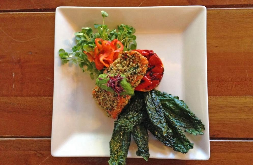 Good for the Heart, Good for the Soul: Tri-Color Quinoa Stack with Hebi Filet and Fennel Chimichurri